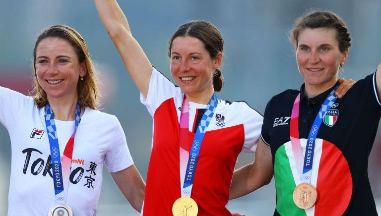 (From left) Annemiek van Vleuten, Anna Kiesenhofer, Elisa Longo Borghini
