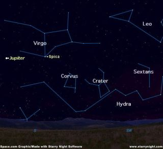 "The constellations of Hydra, Corvus (the Crow) and Crater (the Cup) are seen in this sky map provided by <a href=""http://www.starrynight.com"">Starry Night Software</a>."