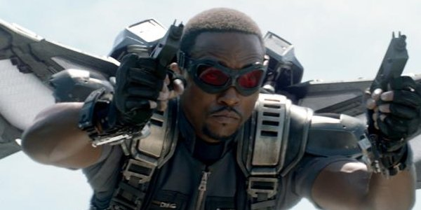 Anthony Mackie as Falcon flying in Captain America: the Winter Soldier