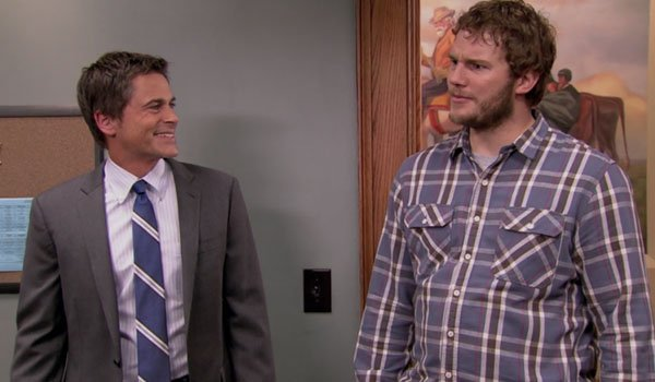Rob Lowe and Chris Pratt on Parks And Recreation