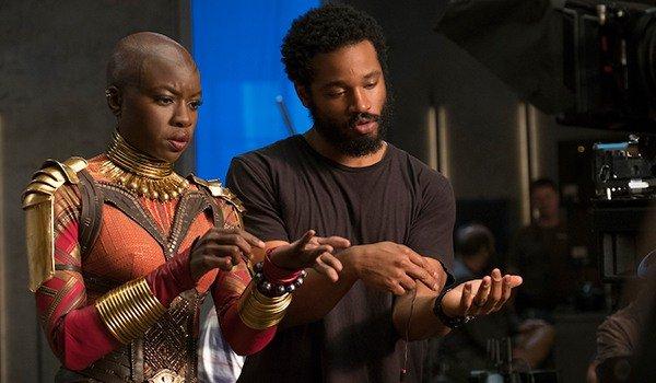 Ryan Coogler directs Danai Gurira as Okoye on the set of Black Panther, photo courtesy of Marvel.