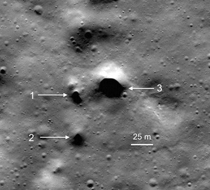 NASA Lunar Reconnaissance Orbiter images spot the newly discovered lava tube skylight candidates at Philolaus Crater near the moon's north pole.