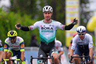 MARTIGNY SWITZERLAND APRIL 28 Peter Sagan of Slovakia and Team Bora Hansgrohe celebrates during the 74th Tour De Romandie 2021 Stage 1 a 1681km stage from Aigle to Martigny TDR2021 TDRnonstop UCIworldtour on April 28 2021 in Martigny Switzerland Photo by Luc ClaessenGetty Images