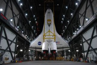 Space Shuttle Discovery Moves Closer to Launch