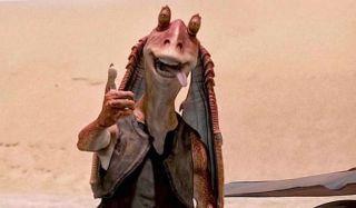 Star Wars The Phantom Menace Jar Jar gives a derpy thumbs up