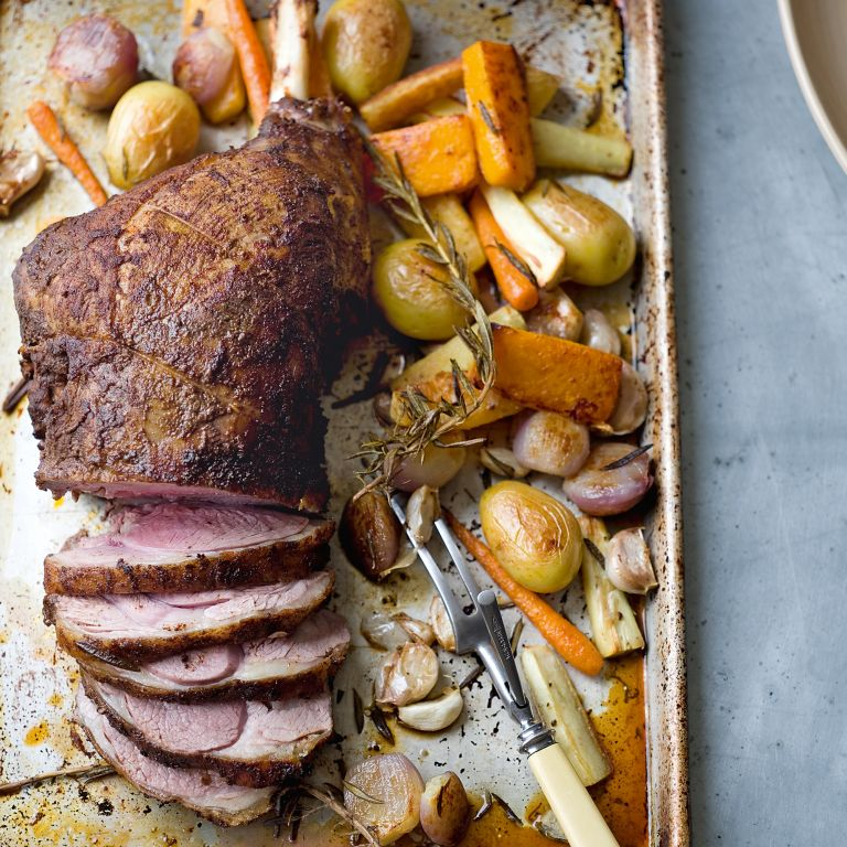 Roast Leg of Lamb with Baharat and Root Vegetables photo