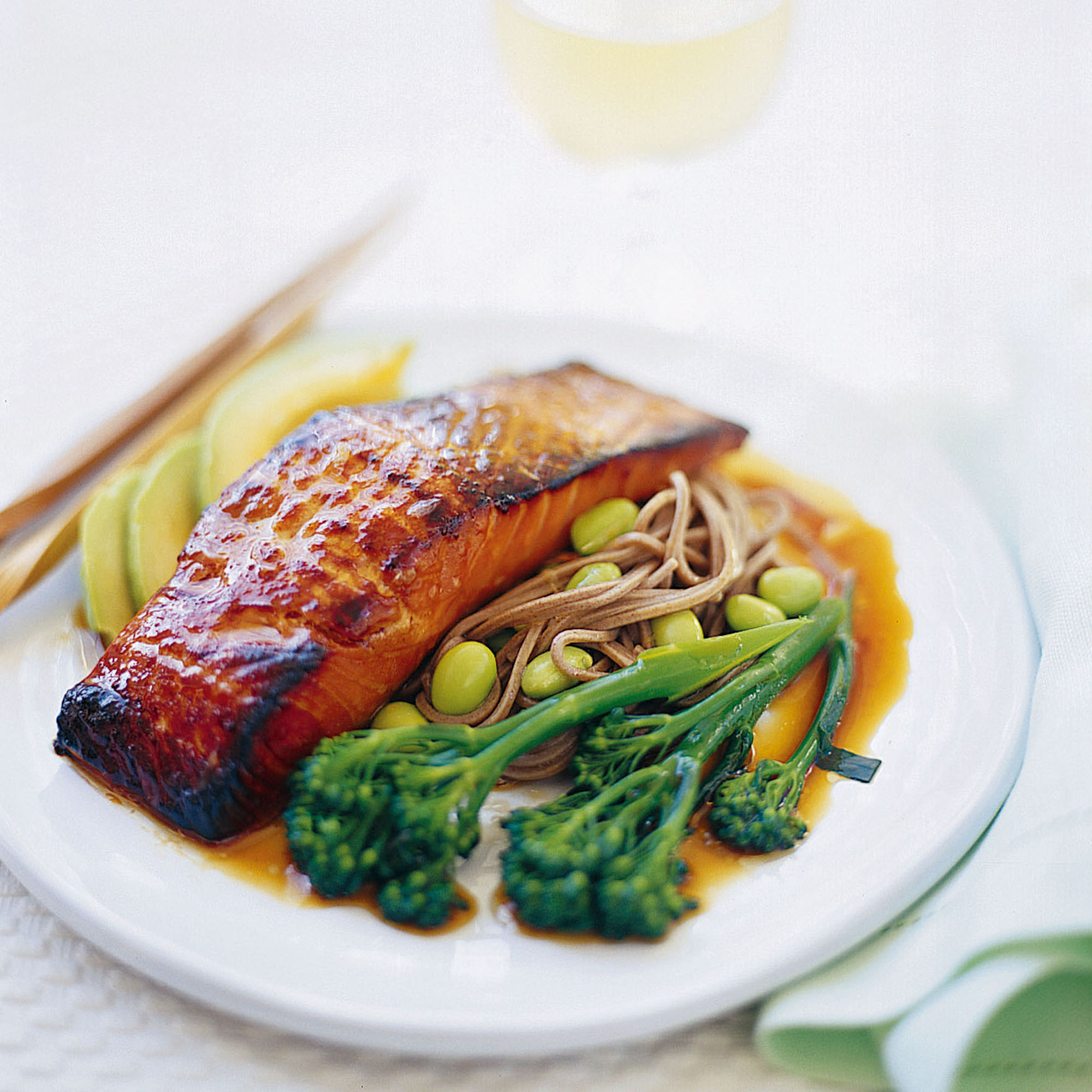 salmon calorie low noodles recipes teriyaki soba recipe healthy ramsay gordon noodle dinner woman meals japanese diet sweet salad cal