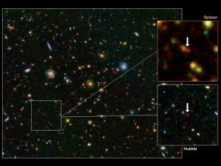 This image shows one of the most distant galaxies known, called GN-108036, dating back to 750 million years after the Big Bang that created our universe. The galaxy's light took 12.9 billion years to reach us.