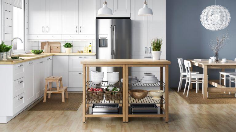 vinyl floor in a stylish grey kitchen