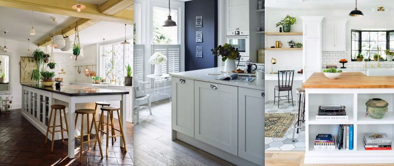 Three white kitchen ideas including a large breakfast bar with beamed ceilings, a navy and white scheme and an all white room with wooden countertops.