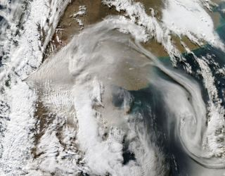 This visible image was taken on June 8 at 18:30 UTC (2:30 p.m. EDT) by the Moderate Resolution Imaging Spectroradiometer (MODIS) instrument that flies aboard NASA's Aqua satellite. he image shows the plume of ash now blowing to the east over Argentina in