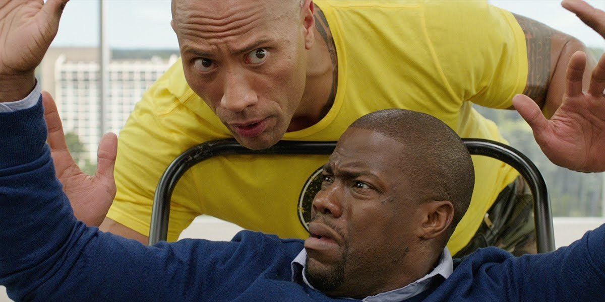 Dwayne Johnson taking Kevin Hart for a ride