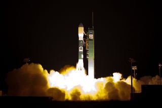 A Delta 2 rocket launches with the NPOESS Preparatory Project (NPP) spacecraft payload from Space Launch Complex 2 at Vandenberg Air Force Base, Calif. on Friday, Oct. 28, 2011. NPP is the first NASA satellite mission to address the challenge of acquiring