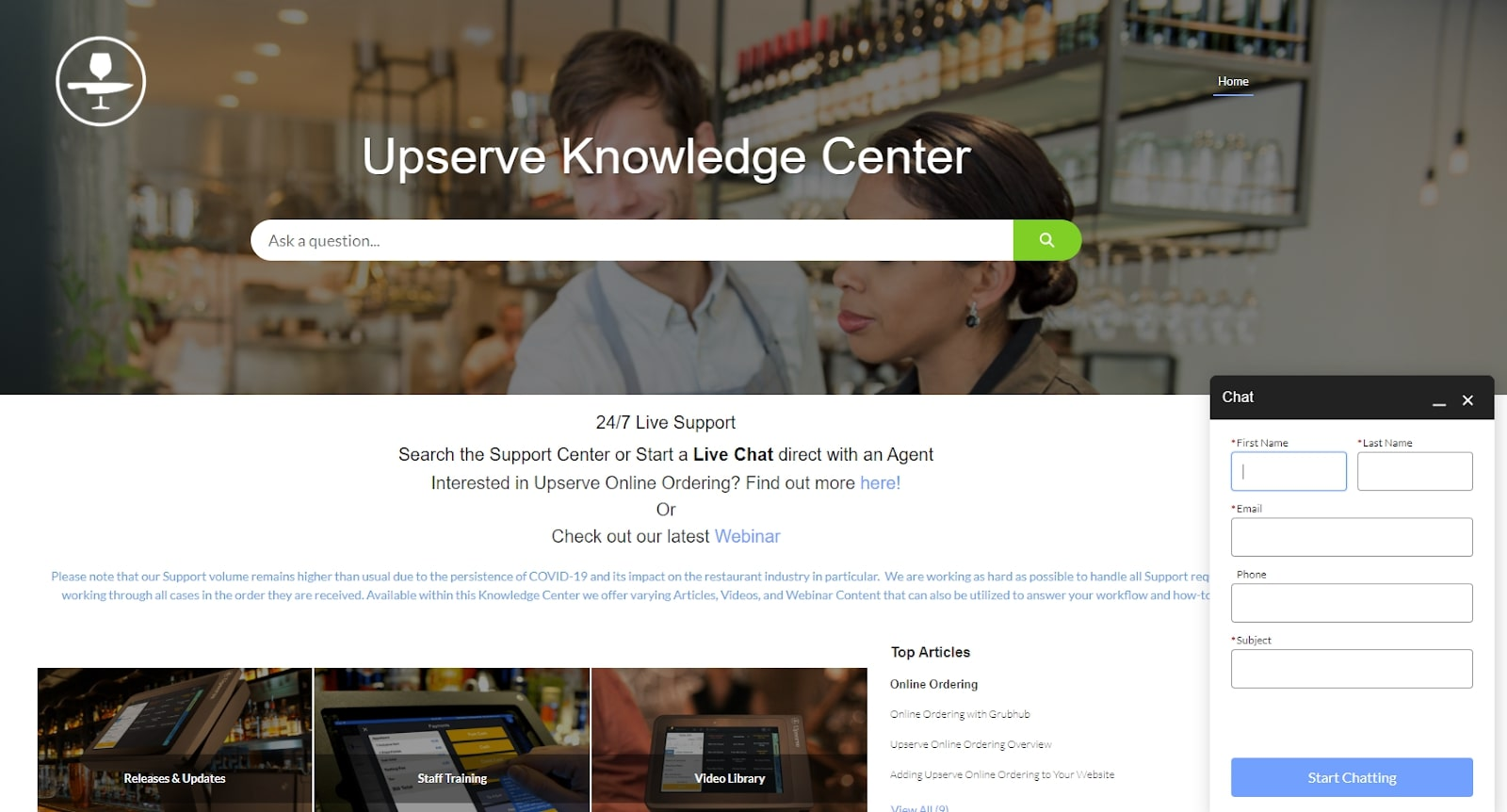 Upserve knowledge center screenshot