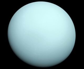 A photo of Uranus from NASA's Voyager 2 spacecraft, which flew by the planet in 1986.