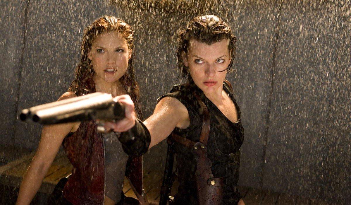 Resident Evil Alice holding a shotgun in the rain