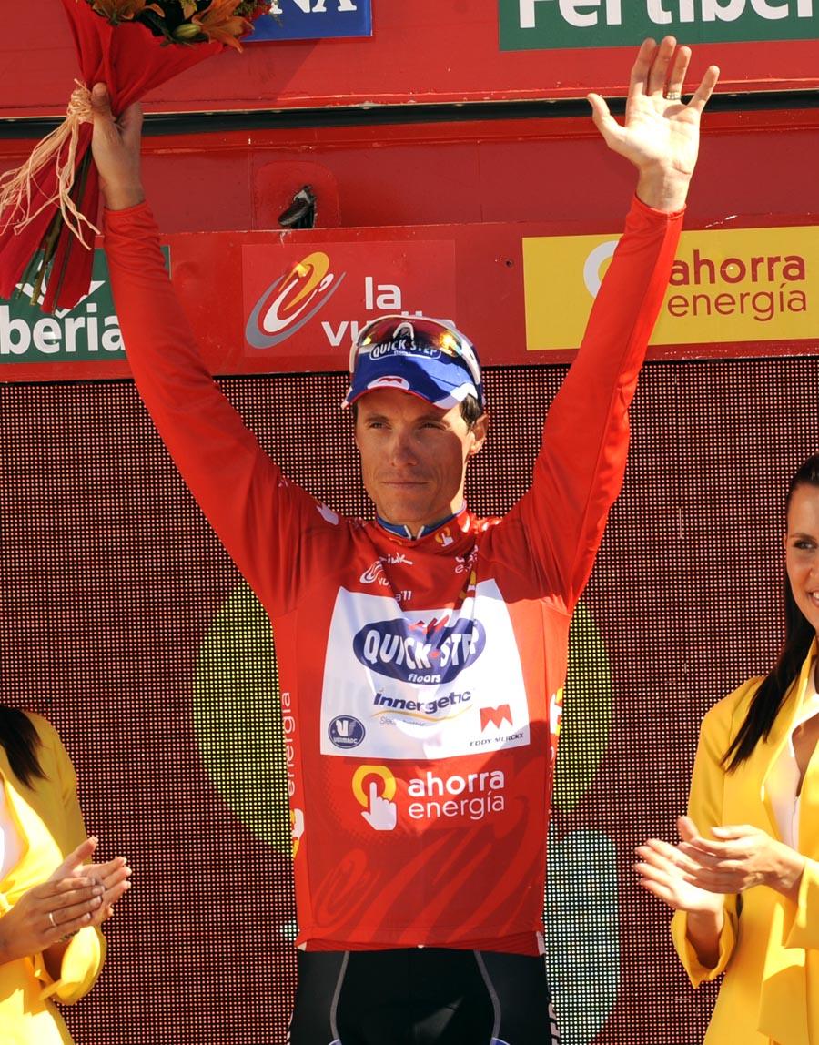 Sylvain Chavanel on podium, Vuelta a Espana 2011, stage five