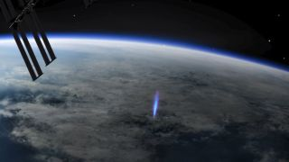 An illustration of a blue jet observed from the ISS