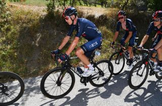 SARNANO ITALY SEPTEMBER 11 Chris Froome of The United Kingdom and Team INEOS Grenadiers Tao Geoghegan Hart of The United Kingdom and Team INEOS Grenadiers Rohan Dennis of Australia and Team INEOS Grenadiers during the 55th TirrenoAdriatico 2020 Stage 5 a 202km stage from Norcia to SarnanoSassotetto 1335m TirrenAdriatico on September 11 2020 in Sarnano Italy Photo by Justin SetterfieldGetty Images