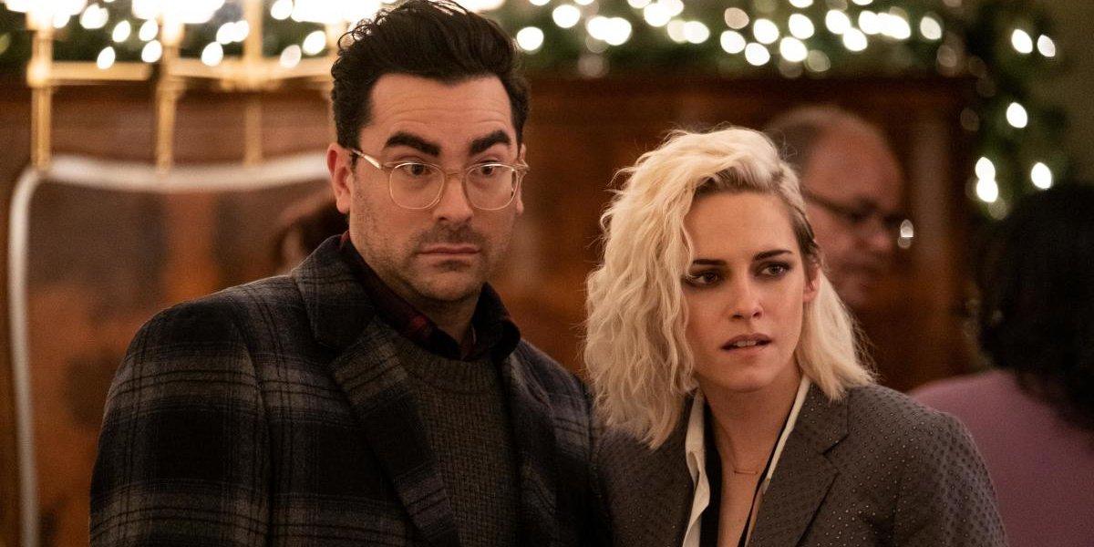 Kristen Stewart alongside Dan Levy in the Christmas film, Happiest Season.