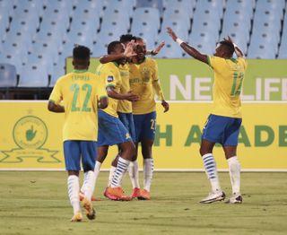 Themba Zwane celebrates his goal with teammates