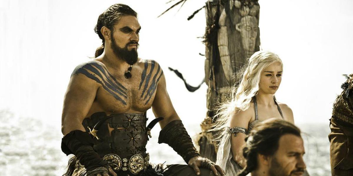 Game of Thrones Jason Momoa Khal Drogo Emilia Clarke Daenerys HBO