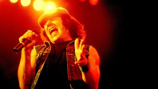 Brian Johnson onstage at the Rosemont Horizon, Chicago, Illinois, September 20, 1980