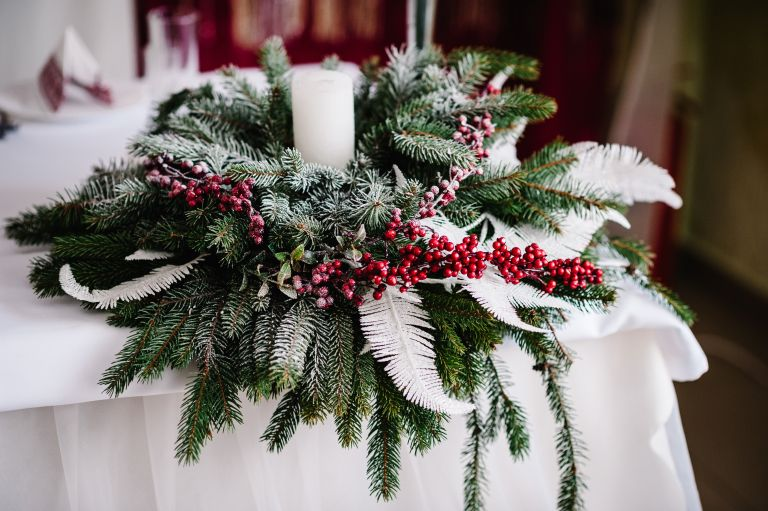 Christmas wreath as table centrepiece