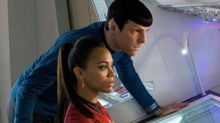 Zoe Saldana and Zachary Quinto in Star Trek: Into Darkness