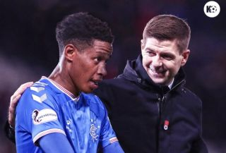 Rangers midfielder Bongani Zungu and head coach Steven Gerrard