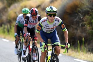 EL BARRACO SPAIN AUGUST 29 Louis Meintjes of South Africa and Team Intermarch Wanty Gobert Matriaux competes in the breakaway during the 76th Tour of Spain 2021 Stage 15 a 1975km km stage from Navalmoral de la Mata to El Barraco lavuelta LaVuelta21 on August 29 2021 in El Barraco Spain Photo by Tim de WaeleGetty Images