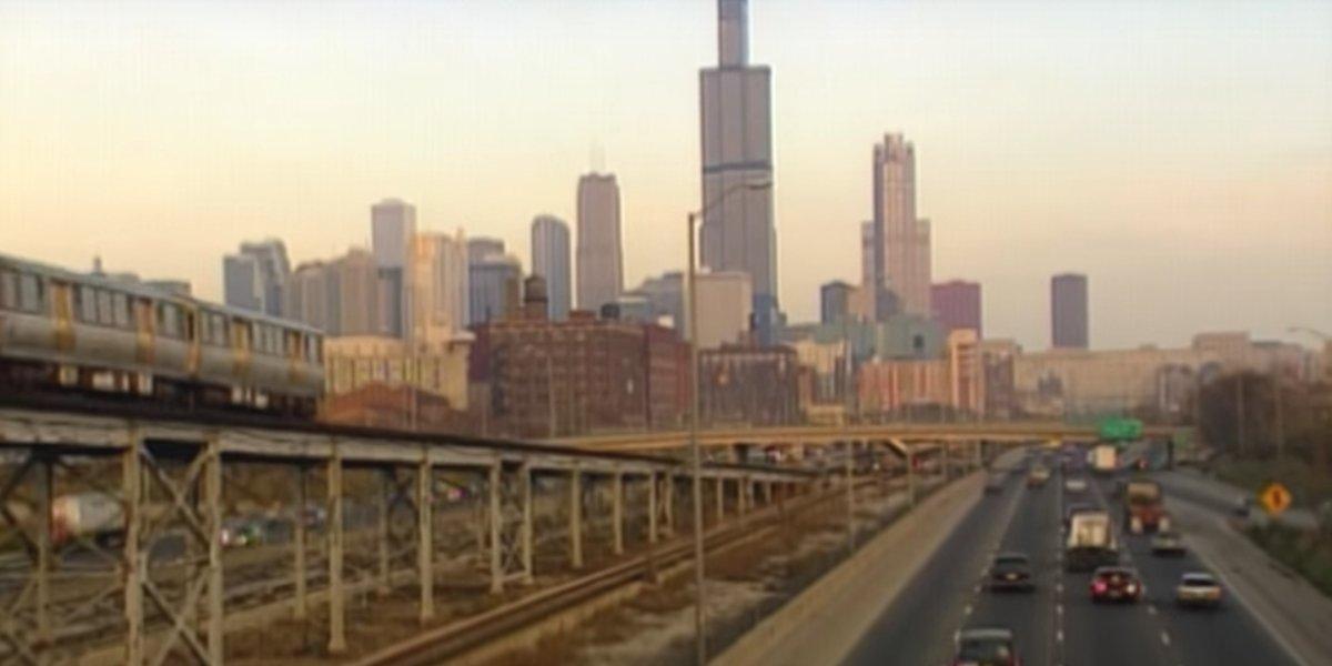 The Chicago skyline in Hoop Dreams