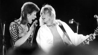Bowie and Ronson at the recording of 'The 1980 Floor Show' , The Marquee Club in London, 20th October 1973