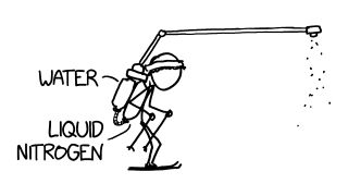 An illustration by Randall Munroe depicts an unconventional approach to skiing.