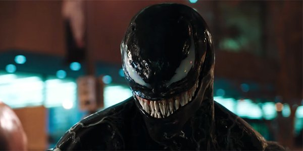 Venom smiling before biting a head off