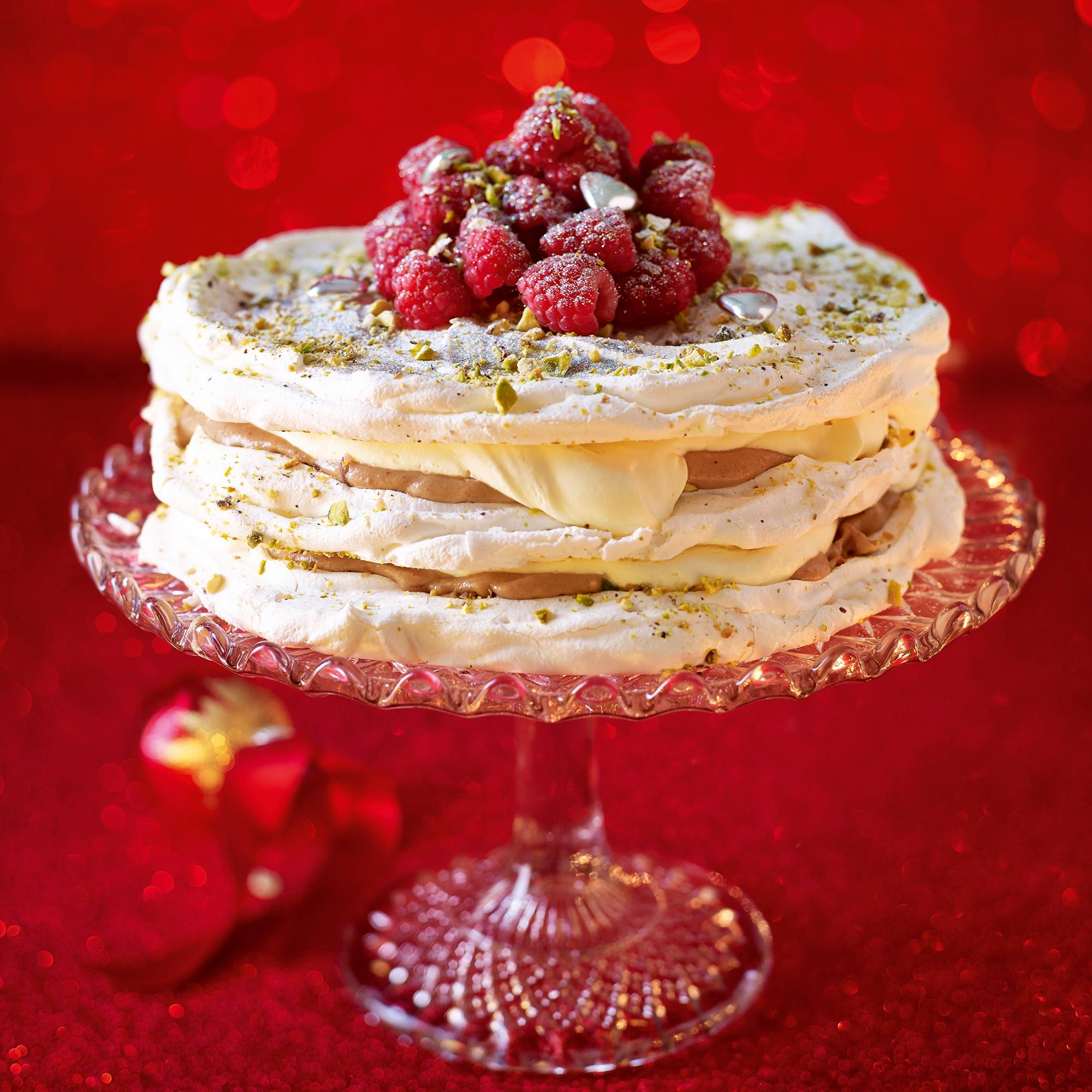 Pistachio And Raspberry Meringue Cake