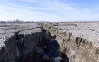 Drought and excessive water pumping in Malard, west of Tehran, Iran, caused a fissure to open up, shown here Jan. 8, 2019. Now, the area around the capital Tehran is sinking.