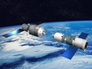 This illustration depicts a Chinese Shenzhou vehicle approaching another module during orbital rendezvous and docking tests, a precursor for space station construction.