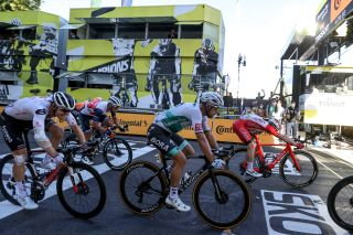 Bora-Hansgrohe's Peter Sagan crosses the line for fourth place on stage 14 of the 2020 Tour de France, taking more points in his chase for the green jersey
