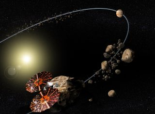 An artist's depiction (not to scale) of the Lucy spacecraft visiting the Trojan asteroids near Jupiter.