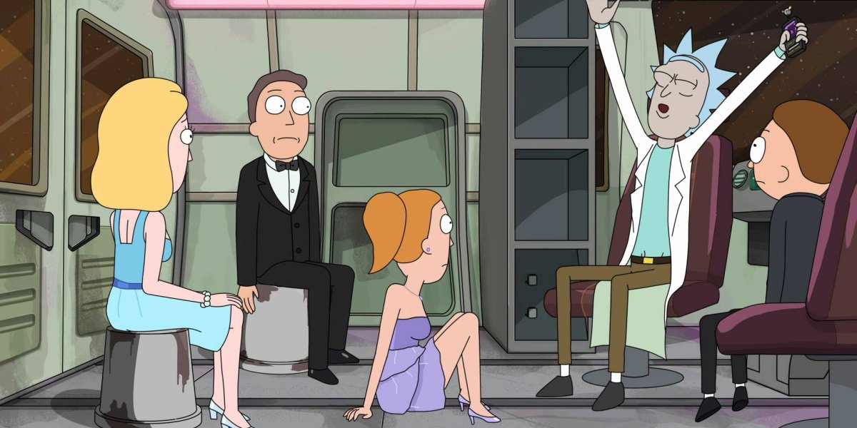 """Rick and his whole family in """"The Wedding Squanchers"""""""