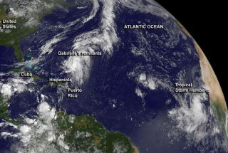 Satellite image of Tropical Storm Humberto and Gabrielle