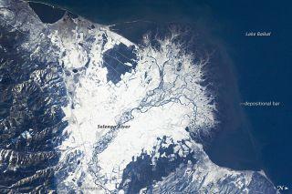 Snowfall in Russia Selenga River Delta