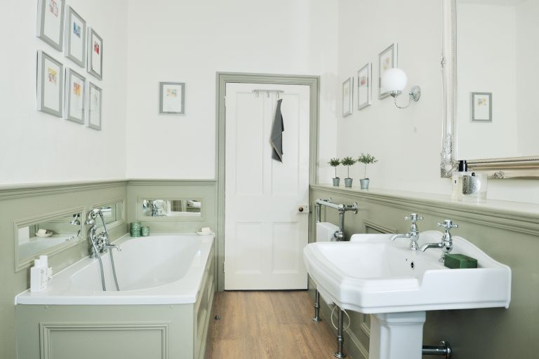 half panelled bathroom with traditional sanitaryware