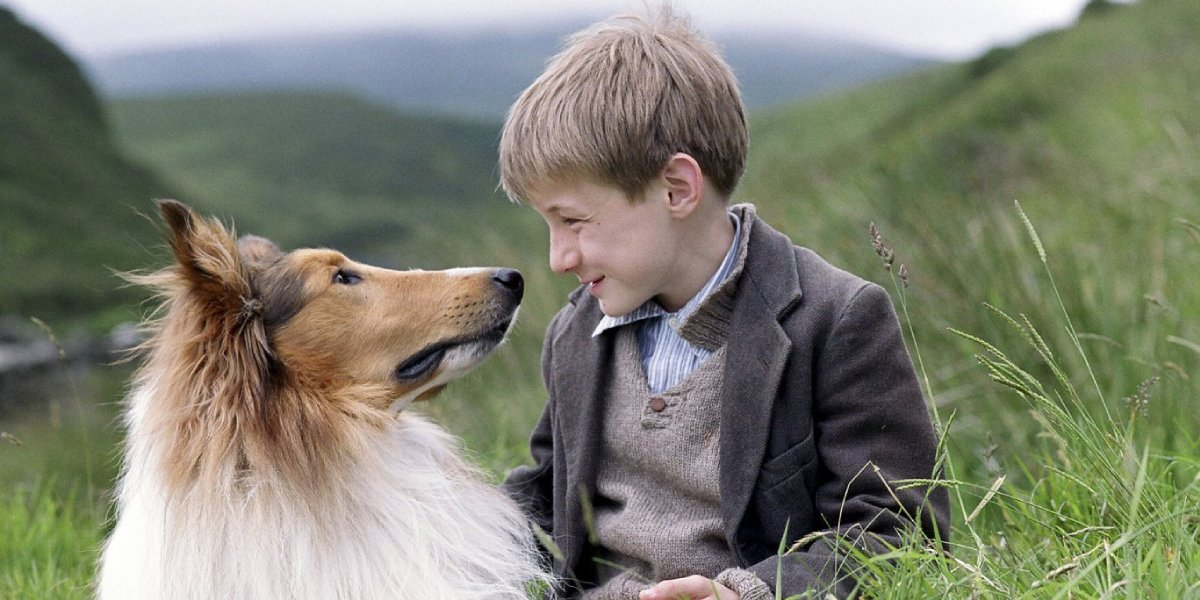 Jonathan Mason with the collie from Lassie