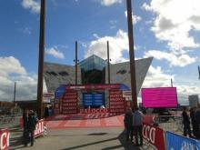 The Belfast start ramp of the TTT at the Giro d'Italia