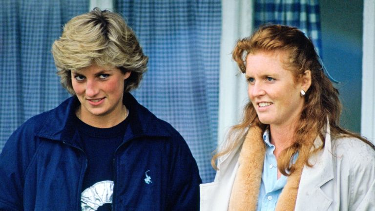 WINDSOR, UNITED KINGDOM - MAY 17: Princess Diana And The Duchess Of York Stand Together As They Watch A Polo Match In Windsor, Berkshire (Photo by Tim Graham Photo Library via Getty Images)