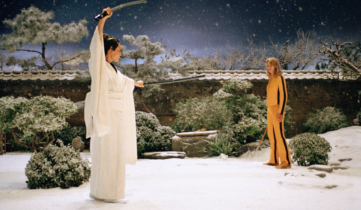 Kill Bill Vol. 1 Oren Ishii and The Bride, outside in the snow at the House of Blue Leaves