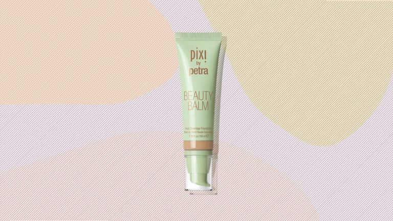 An image of Pixi Beauty Balm on a graphic background