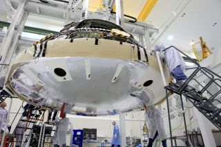 Orion Spacecraft's Heat Shield Attached
